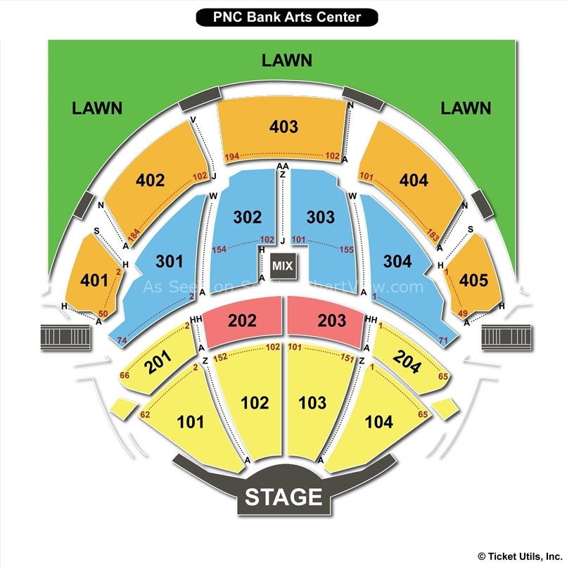Pnc bank arts center seating chart pnc bank arts center
